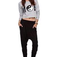 Married to the Mob Ying Yang Cropped Crew Fleece - Womens Hoodie - Gray - Large