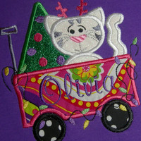 Kitty Wagon Christmas Embroidered Baby/Toddler Shirt (Newborn-5T)