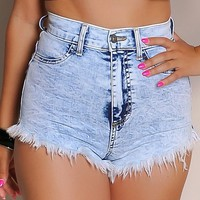 Sexy High-Waisted Acid Wash Cutoff Shorts
