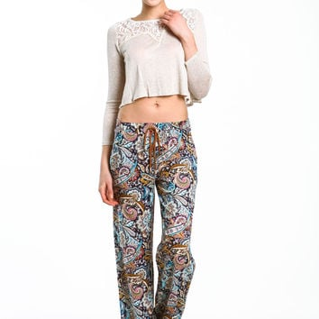 PAISLEY WIDE LEG PANTS