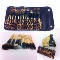 12 Pcs PRO Makeup Brush Set (African Leopard) leather case. Eyebrow Pencil Lip Liner & Goat Brushes, Bamboo Handle. High Quality, Professional Brushes. Compare to Sigma, Shany, Ecotools
