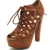 CAGED LEATHERETTE LACE-UP HEEL