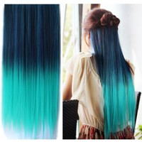 Uniwigs Ombre Dip-dye Color Clip in Hair Extension 60cm Length Black to Green Straight for Fashion Women Tbe0021