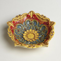 FLORAL SHAPED PAINTED TIDBIT DISH