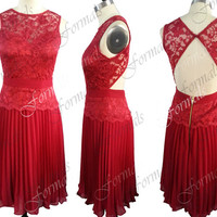 Lace Prom Dresses, 2014 Red Prom Dresses, Short Lace and Chiffon Red Cocktail Dresses, Short Prom Dresses, Red Prom Dresses, Red Formal Gown