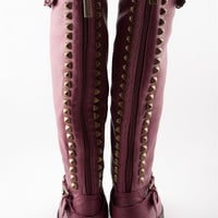 Starting Something Studded Back Knee High Riding Boots - Berry