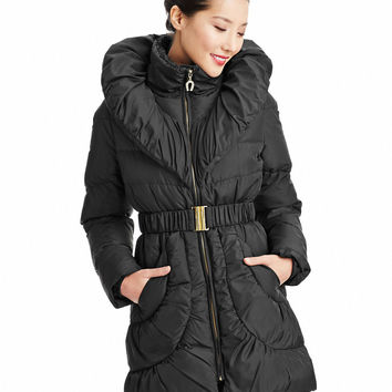 Women's Apparel | 60% Off Coats | Pillow Collar Belted Down Jacket | Lord and Taylor