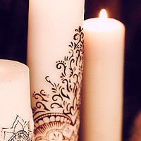 Free People Womens Henna Heart Tall Pillar Candle - White, One Size