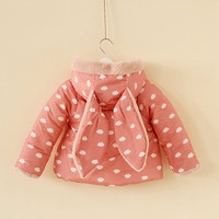 3y,4y,5y,6y toddler girl pink rabbit coat pink bunny jacket
