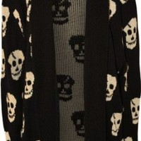 PaperMoon Women's Plus Size Skull Long Sleeve Knitted Cardigan