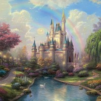 "Thomas Kinkade Signed and Numbered Limited Edition Print and Hand Embellished Canvas :""A New Day at the Cinderella Castle ©"""