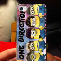 minion one direction on galaxy nebula case for galaxy s3,galaxy s4, iphone 4/4s case, iphone 5 case, iphone 5s case, iphone 5c case