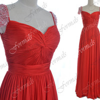 2014 Prom Dresses, Red Prom Gown, Cap Sleeves with Beaded Chiffon Red Long Prom Dresses, Red Long Formal Gown, Evening Gown