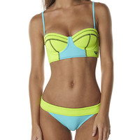 SURFSTITCH - WOMENS - SWIMWEAR - BIKINIS - ROXY NEON TIDE BUSTIER SURFER LOWRIDER BIKINI - NEON LIME