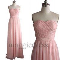 Custom Pink Long Bridesmaid Dresses 2014 Prom Dresess Evening Gowns Formal Party Dresess Homecoming Dresses Party Dress Cheap Dress