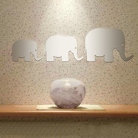 Elephant family decorative wall decal sticker mirror