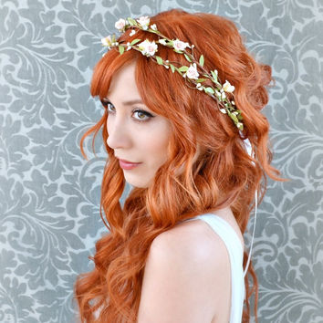 Bridal headband, pink flower crown, woodland hair wreath, whimsical wedding hair accessories by Gardens of Whimsy on Etsy