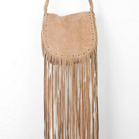 Ecote Winding Road Suede Fringe Crossbody Bag - Urban Outfitters