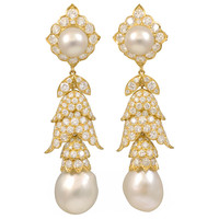 1960s Van Cleef & Arpels Pearl Diamond Drop Earrings