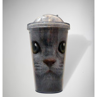 Cat Green Eyes Cup with Straw
