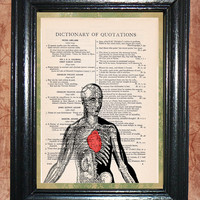 Half a Skeleton & Organs Man with a Red Heart - Vintage Dictionary Book Page Aet Beautiful Upcycled Page Art Print Home Decor Art Print