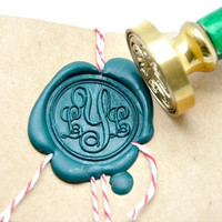 Personalized Custom Initials Monogram Gold Plated Wax Seal Stamp x 1