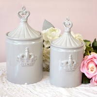 Pair of Pale Grey Jars with Crown