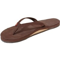 Rainbow Sandals Women's Premier Leather Narrow Strap Single Layer, Expresso, Small (5.5-6.5)