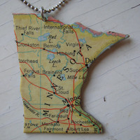 Minnesota Vintage Puzzle Pendant by MichelleAndHerDog on Etsy