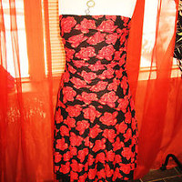 LAST JEANS PARTY DRESS W NECKLACE !SIZEXL-2XL!BLACK/RED ROSES! NEW !POLYESTER !
