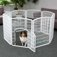 IRIS Plastic Exercise / Containment Pet Pen for Dogs, White