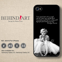 Phone Cases iPhone 5 case iPhone 5C Case iPhone 5S case iPhone 4 Case iPhone 4S Case Phone Covers iPhone Case Marilyn Monroe-A0315