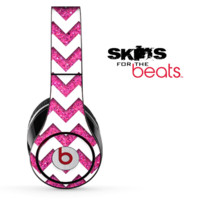 Pink Sparkle and White Chevron Pattern Skin for the Beats by Dre Solo, Studio, Wireless, Pro or Mixr