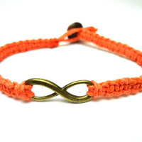 Brass Infinity Bracelet, Coral Macrame Hemp Jewelry, Couples or Friendship Bracelet - Free North American Shipping