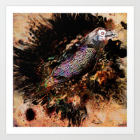 Crow in the dark Art Print by ganech