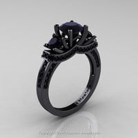French 14K Black Gold Three Stone Black Diamond Wedding Ring, Engagement Ring R182-14KBBD