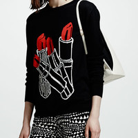 Lipstick Intarsia Knit Sweater, Black