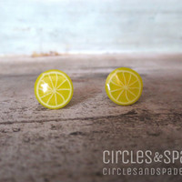 Cute Lemon Slice Fruit Yellow Post Earrings 10mm