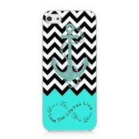 S9Q Anchor Chevron Retro Vintage Tribal Nebula Pattern Hard Case Cover Back Skin Protector For Apple iPhone 5C Style C Blue