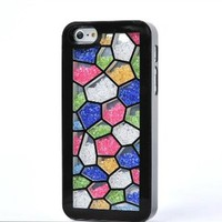 Meaci Apple Iphone 5 (Not for 5c) Case Glitter Bling Neon Rhinestone Protective Case -Polygon(xxii)