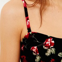 Pins & Needles Velvet Bralette in Floral Print at Urban Outfitters
