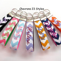 Chevron Personalized Wristlet Key Fob Key Ring 9 Letters Assorted Chevron Styles 4 Fonts