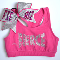 SET Pink FIERCE Sports Bra with Matching Bow