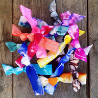 15 Tie Dye Hair Ties-Ponytail Holders Collection by Elastic Hair Bandz on Etsy 20% Off Sale Going On Now