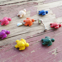 Carved Turtle Belly Button Ring YOU CHOOSE COLOR by MidnightsMojo