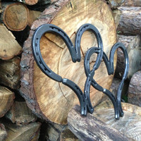 Simple and elegant Metal Double Horse Shoe Heart