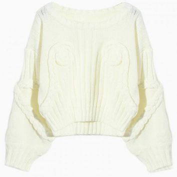White Flower Knit Cropped Sweater