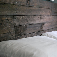 Industrial and Elegant Reclaimed Wood Headboard/ Espresso (Queen)