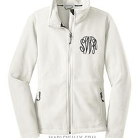 Monogrammed White Fleece Jacket