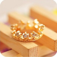 Lovely Cute Crystal Rhinestone Ring Gold